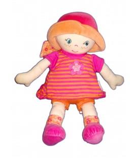 doudou-poupee-tissu-corolle-2007-rose-orange-rayures-fleur-chapeau-30-cm