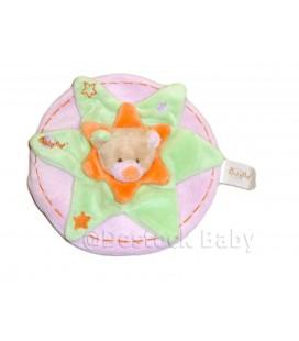Doudou plat ours plat vert étoile rond rose collerette orange Baby Nat