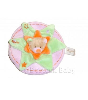 Doudou plat OURS plat vert étoile rond rose collerette orange 20 cm
