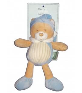 Doudou Ours bleu beige Mes Petits Cailloux 28 cm CMP