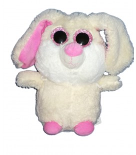 Peluche doudou Lapin blanc rose Gros yeux Fizzy 22 cm