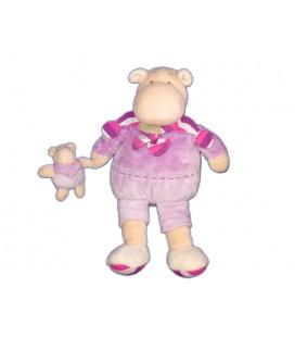 Doudou Z'amigolos Maman Bébé Hippo Hippopotame mauve Doudou Et Compagnie 32 cm