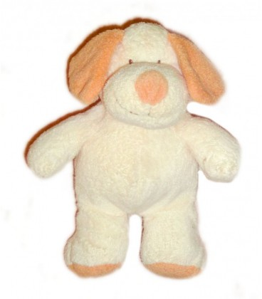 Doudou peluche CHIEN Hund Dog NICOTOY The Baby Collection Beige écru Orange 25 cm