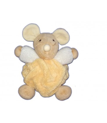 kaloo-doudou-souris-jaune-coll-plume-20-cm