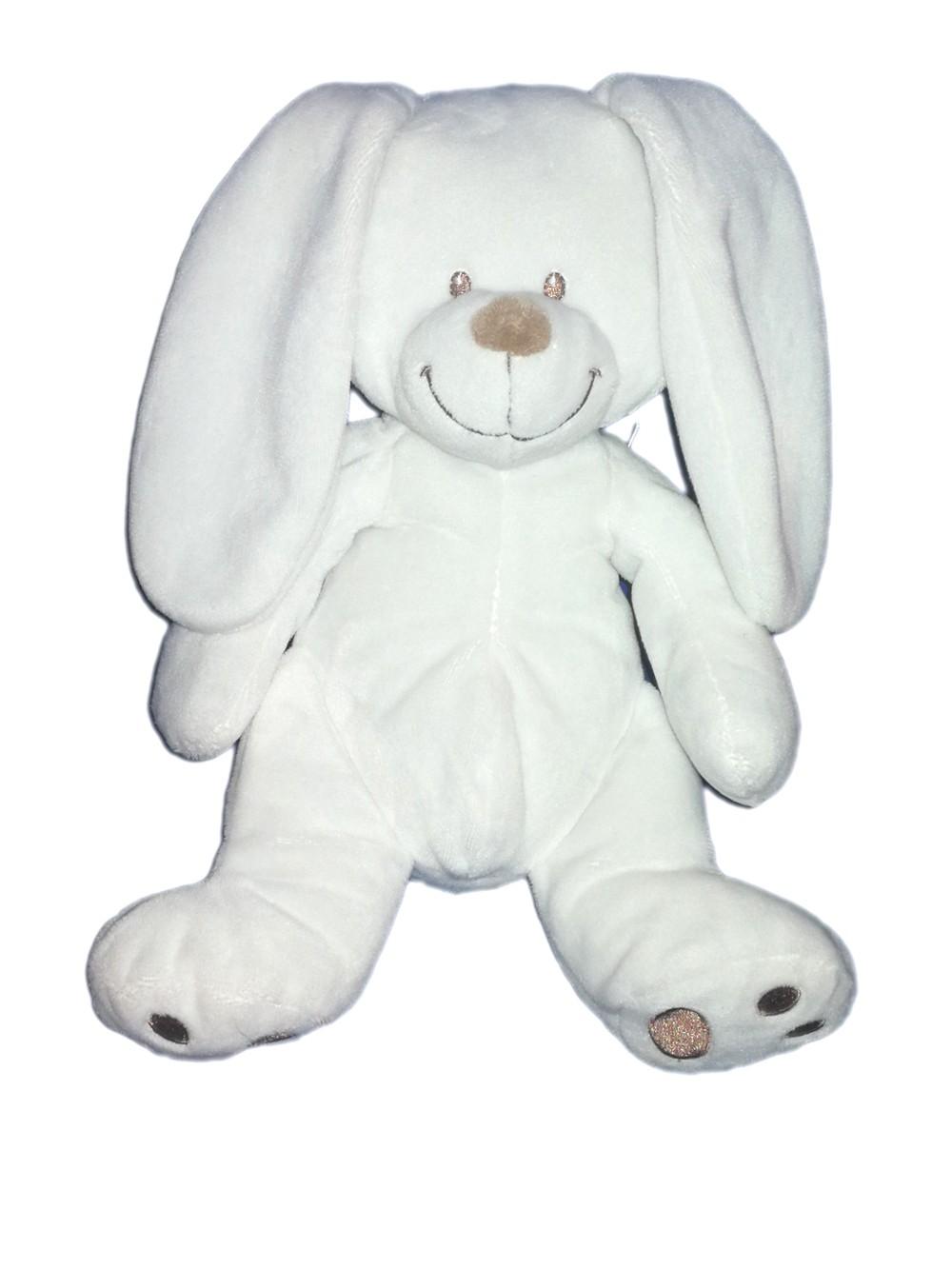Doudou Plat Lapin Blanc Empreinte Nicotoy Simba Toys Baby Club