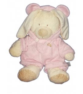 doudou-peluche-lapin-ecru-beige-deguise-ours-rose-orchestra-35-cm