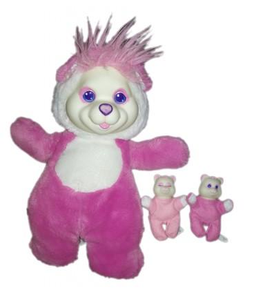 peluche-ours-rose-puppy-surprise-32-cm-vintage-hasbro-1991-avec-deux-bebes
