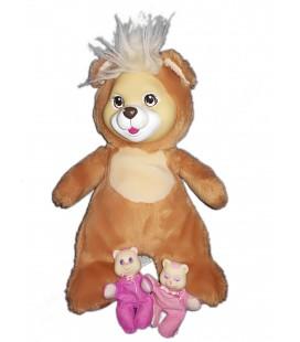 Peluche Ours marron roux Puppy Surprise 32 cm Vintage Hasbro 1991 avec ses 2 bébés