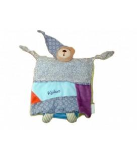 Doudou OURS Kaloo Hippie chic Patchwork - Marionnette 2 noeuds - Bleu mauve Bonnet