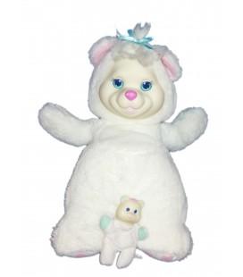 peluche-ours-blanc-puppy-surprise-32-cm-vintage-hasbro-1991-avec-son-bebe