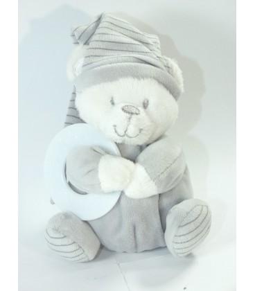 Doudou ours gris blanc Max et Sax Anneau de dentition 15 cm