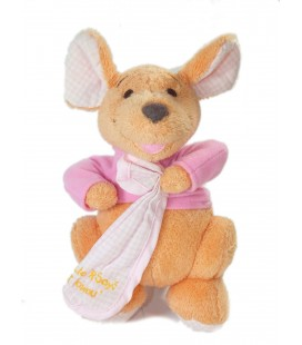 Doudou peluche Kangourou ROO Mouchoir rose Little Roo Says I love you 20 cm Disney Nicotoy