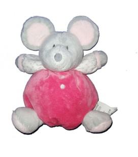 Doudou Boule Souris grise rose OBAIBI 20 cm Grelot Comme neuf