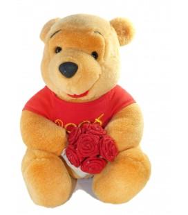 Peluche Winnie Bouquet de roses Walt Disney 26 cm - Cadeau Saint Valentin
