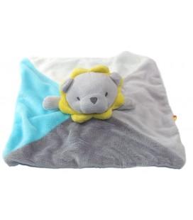 Obaibi Okaidi Doudou Plat Lion gris bleu blanc couronne jaune