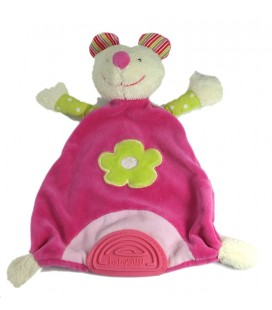 BABY SUN Doudou à dentition plat Souris rose Fleur verte Babysun