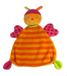 BABY SUN Doudou plat Papillon orange rose Babysun