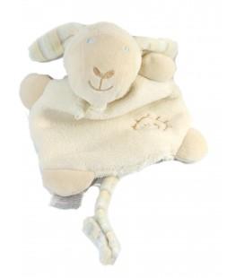 Doudou plat Mouton agneau blanc écru crème Baby Club soleil C&A