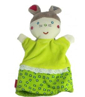Doudou Marionnette Lapin vert Babysun Grelot