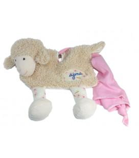 AJENA Doudou plat Mouton beige Mouchoir rose César France