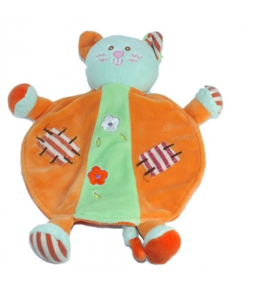 Doudou plat chat orange vert fleurs Ajena