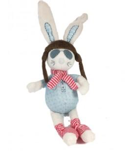 Doudou lapin blanc bleu aviateur Who Loves me TAO Tape à l'Oeil 32 cm