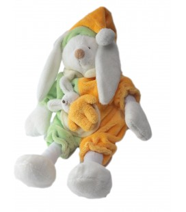 Doudou peluche musicale Lapin orange vert LASCAR 30 cm Voir description