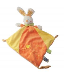 Doudou Lapin plat Losange Jaune orange Mots d Enfants Leclerc Poussin 579/0556