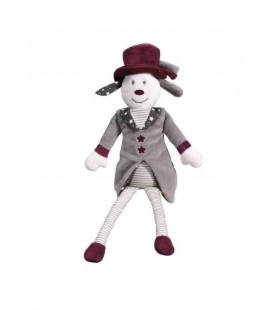 Doudou peluche chien chapeau étoile rayure Faustine et Olaf gris SAUTHON - Neuf