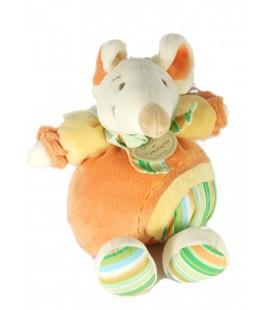 Doudou et Compagnie Souris orange vert rayures 22 cm