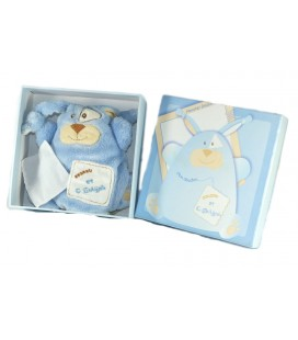 Doudou et Compagnie Lapin bleu pantin mouchoir blanc Monsters PE1377