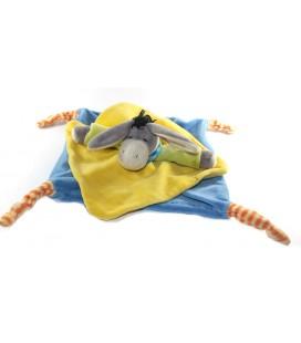 PLAYKIDS Doudou plat ANE Calin jaune bleu 4 noeuds CMI REF 23100198