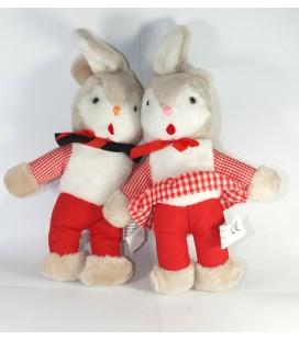 Vintage Lot de 2 Lapins beige blanc rouge TRI-Kottmann 30 cm