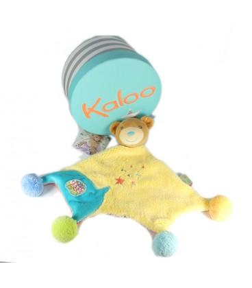Kaloo Doudou plat ours jaune bleu étoiles pompons Collection Bliss