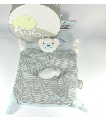 Kaloo Doudou Zen 4 Noeuds Ourson gris poisson ours plat