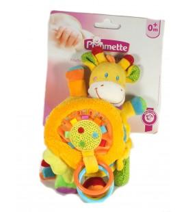 Doudou Livre d'éveil Girafe jaune orange Hochet Activité 24 cm NEUF SUR CARTON