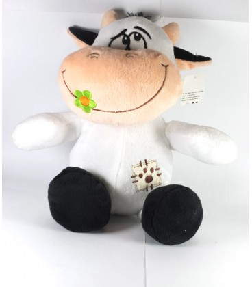 Zeeman Doudou Peluche Vache blanche Fleur verte 30 cm