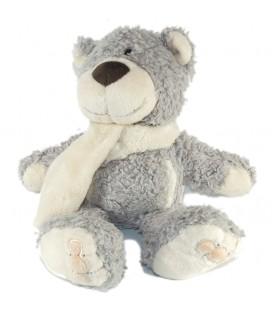 Doudou Peluche ours gris Echarpe blanche NICI 26 cm