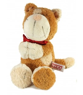 Doudou Peluche Chat marron beige Noeud rose rouge NICI 25 cm