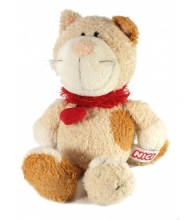 Doudou Peluche Chat marron beige Noeud Coeur rouge Love NICI 25 cm