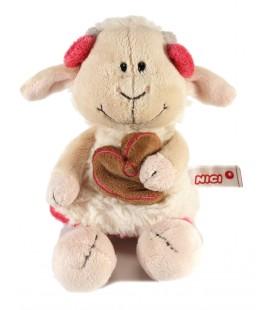 Doudou Peluche Mouton blanc rose Coeur marron NICI 22 cm