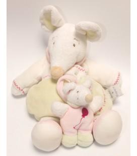 DOUDOU ET COMPAGNIE - SOURIS vert blanc Barbotine et son bébé