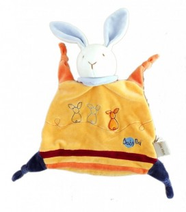 Doudou plat Lapin orange BABY NAT Babynat - 4 noeuds