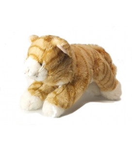 Peluche doudou Chat roux beige Peeko 22 cm + queue