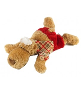 Doudou Peluche Ours marron short rouge NICI 24 cm allongé
