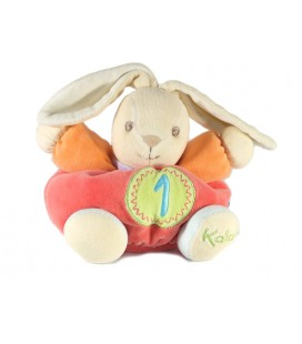 Kaloo - Doudou Kaloo Lapin rose orange chiffre 1 grelot 18 cm