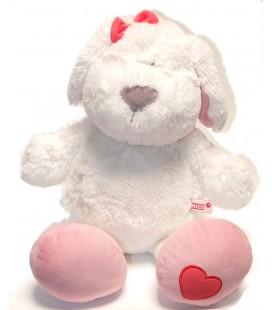 Doudou Peluche chien blanc coeur NICI 50 cm