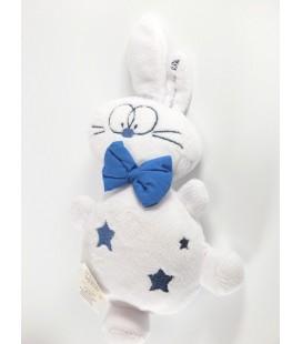 Doudou Lapin blanc bleu étoiles Grain de Blé 24 cm