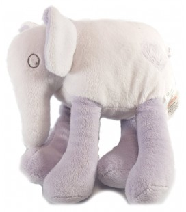 Doudou Elephant blanc mauve Grain de Blé 18 cm