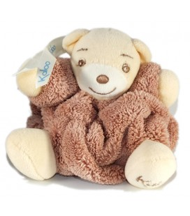 Mini doudou ours marron plume attache tétine 10 cm